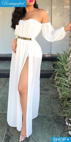 Off Shoulder Split Weißes Chiffon-Kleid dressiu Cute Prom Dresses, Pretty Dresses, Beautiful Dresses, Casual Dresses, Cute Maxi Dress, Fitted Dresses, Dresses With Sleeves, Maxi Dress With Slit, White Maxi Dresses