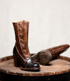 Ladies Victorian Boots & Shoes Steampunk Style Mid-Calf Leather Boots in Black Teak $315.00 AT vintagedancer.com