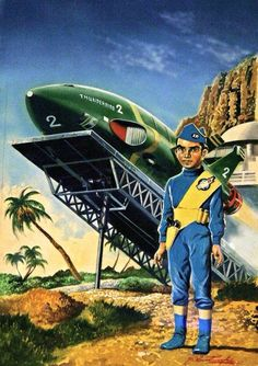 Thunderbirds, art by Shigeru Komatsuzaki, Japan James Bond, Thunderbird 1, Thunderbirds Are Go, Fantastic Show, Retro Futuristic, Animation, Best Series, Pulp Art, Military Art