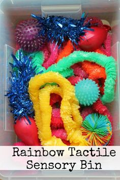 Sensory Play: Rainbow Tactile Sensory Bin - In The Playroom - In The Playroom in Play 6 Comments Sensory bins can be so easy to make, and this is definitely one of the simpler ones. I noticed that some of the materials had an interesting texture. Baby Sensory Play, Sensory Tubs, Sensory Rooms, Sensory Boards, Baby Play, Sensory Play Autism, Toddler Sensory Bins, Sensory For Babies, Autism Learning