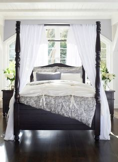 Make a grand statement with a big and beautiful bed. #potterybarn