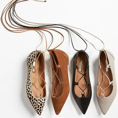 A trend-forward ghillie flat from the Nordstrom Anniversary Sale is shaped with a pointy toe with metal-tipped wraparound laces and gleaming studs. Cute Shoes, On Shoes, Me Too Shoes, Shoe Boots, Jeweled Shoes, Lace Up Flats, Nordstrom Anniversary Sale, Shoe Sale, Petite Fashion