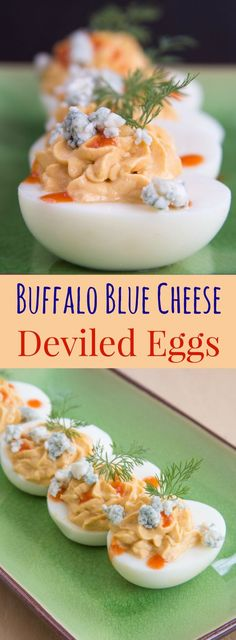Buffalo Blue Cheese Deviled Eggs - this spicy twist on the classic deviled egg recipe adds your favorite wing flavors of hot sauce and blue cheese to the classic picnic menu staple. A perfect party appetizer or a low carb, high protein snack. Low Carb Appetizers, Cheese Appetizers, Appetizers For Party, Appetizer Recipes, Easter Appetizers, Cheese Snacks, Yummy Appetizers, Popular Appetizers, Cheese Bites