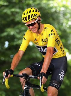 Chris Froom of Great Britain and Team Sky reacts during stage eight of the 2017 Le Tour de France a 1875km road stage from Dole to Station Des...