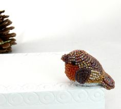 Robin Bird Figurine Tiny Beaded Red Breasted Robin by MeredithDada, $32.00