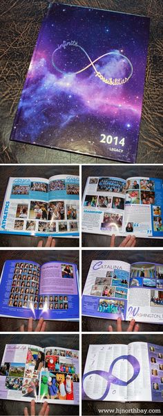 Infinite Possibilities yearbook theme incorporating infinity logo and galaxy image