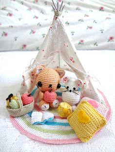 Amigurumi Pattern Teepee Kitty & Mouse by krokrolamb on Etsy, $8.50