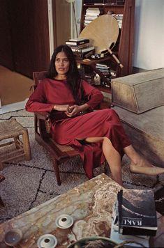 Perla Valtierra // Ceramicist wears our Ruby Red Satin Ava Dress