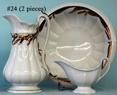 Ironstone; Elsmore & Forster, Wash Basin & Pitcher, Ceres Pattern, Wheat Design, 14 inch.