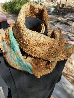 Sand and sky nuno felted scarf by pullofthemoon Nuno Felt Scarf, Felted Scarf, Moon Design, Nuno Felting, Fiber Art, Sky, Crochet, Handmade, Fashion