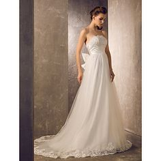 A-line Strapless Sweep/Brush Train Tulle And Charmeuse Wedding Dress (722152) – USD $ 199.99