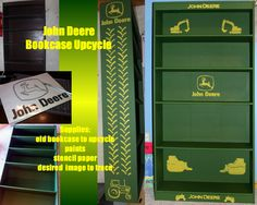 "John Deere Upcycled Bookcase for my son's new ""Big Boy"" room. Recycled bookcase and some paint. He LOVES it! : )"