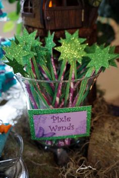 Pixie wands at an Ariel, Tinkerbell, and Jasmine birthday party! See more party ideas at CatchMyParty.com!