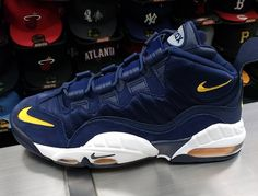 the best attitude 8c6b8 98899 This Nike Air Max Sensation in Wolverines navy and yellow links back to  Chris Webbers past.