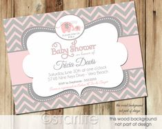 Elephant Baby Shower Invitation - Pink and Gray Grey Chevron - Baby Girl - PRINTABLE Invitation Design. $16.00, via Etsy.