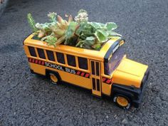 Vintage Bus Succulent Planter. Would be so cute in a teacher's home office!