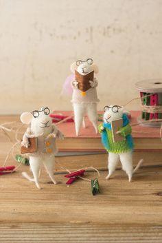 set of 3 felt caroling mice