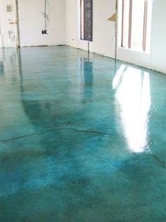 Turquoise Stained Concrete Floor-