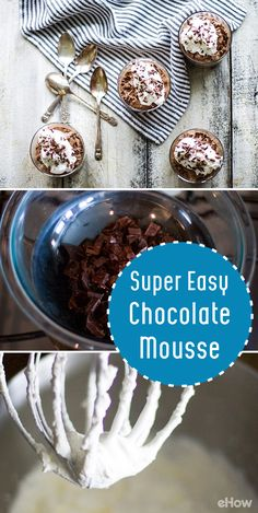 Chocolate mousse recipe alert! Light, airy and perfect for a post-dinner treat, this mousse recipe requires no previous experience! http://www.ehow.com/how_2297472_make-chocolate-mousse.html?utm_source=pinterest.com&utm_medium=referral&utm_content=freestyle&utm_campaign=fanpage