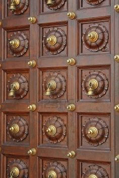 Architectural Details Interesting Door Design Found In An Indian Temple Pooja Room Design Ho. Main Entrance Door Design, Wooden Front Door Design, Wooden Front Doors, Home Door Design, Pooja Room Door Design, Door Design Interior, Unique Wood Furniture, Traditional Front Doors, Exterior Doors