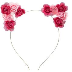 Charlotte Russe Pink Combo Two-Tone Rose Cat Ears Headband by... ($6.99) ❤ liked on Polyvore featuring accessories, hair accessories, headbands, hair, hats, pink combo, pink headband, hair band headband, cat ears headband and headband hair accessories