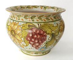 "Flowerpot 1 ""Grapes and Sunflowers"" Vase holder made of in majolica and hand painted with craquelè glaze. #artigianato #madeinitaly #majolica #maioliche #portafiori #flowerpot"