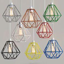 Retro Industrial Geometric Pendant Light Lamp Guard Wire Squirrel Bulb Cage Iron