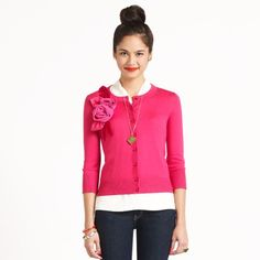 a sweetheart cardigan, a topknot, and bright red lipstick... bring on the holidays!