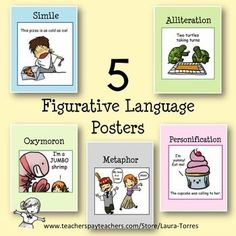 FREE Five 8 1/2 x 11 figurative language posters with cute illustrations to make the point.