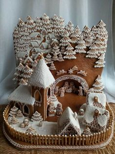 Gingerbread nativity with backdrop