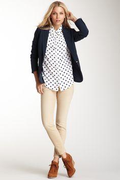 classic. polka dot blouse // blazer // khaki pants