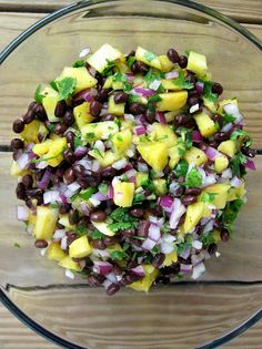 Pineapple Black Bean Salsa: Looks perfect for Mardi Gras or colorful enough for any time even if people are not from NOLA