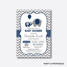 Navy Elephant Chevron Baby Shower Invitation / Personalized (SBS.41)