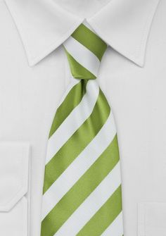 Grass Green and White Necktie - Looking for a trendy and unusual necktie? Then this bright green and white striped tie will be just made for you. It is a neck tie that combine Wide Stripes, Green Stripes, Bright Green, Green Wedding, Wedding Colors, Wedding Ideas, Pantone, Forever Green, White P