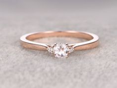 3 stones Morganite Engagement ring Rose gold,Diamond wedding band,14k,5mm Round Cut,Gemstone Promise Bridal Ring,Plain gold matching band by popRing on popRing #roundmoganitering