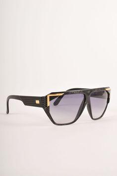 VINTAGE Courreges Paris Gold & Black Shield Sunglasses #CourregesParis #Shield