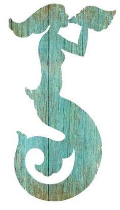 Mermaid Silhouette Aqua Left or Right for Sale - Cottage & Bungalow