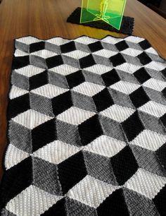 Isometric Blanket / Afghan  Geometric Black White & by Paravent, $250.00