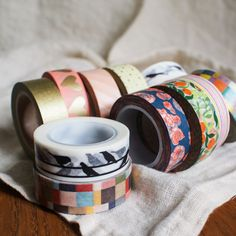 We're a bit late to the party and only recently discovered washi tape - Japanese tape made of natural fibers, often decorated with the most delightful patterns and/or colors. We recently went a little overboard on @etsy and found all sorts of beautiful designs. Our rationale? It's a good idea to stock up before the holidays!  Etsy sources: @washitape, @eycstudio and The Washi Shop.