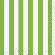 Lime Green Striped Lunch Napkins 16ct - 325052 | Party-fy! #napkins #lunchnapkins #stripes #greenstripes