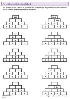 50 pyramides multiplicatives sur 5 fiches autocorrectives pour travailler les tables de multiplication mais aussi la division et la multiplication posée. Mental Maths Worksheets, Maths Puzzles, Math Resources, Math For Kids, Fun Math, Division Posée, Multiplication Posée, Logic Math, Abacus Math