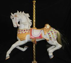 Beautiful Large White Decorative Carousel Horse Rich Details AND VIVID Colors | eBay
