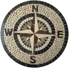 Marble medallion compass rose. Custom made - any size & color. Lead time: 2 weeks Model: M-051 Type: Hand made mosaics visit us: www.MedallionUS.com Pebble Mosaic, Mosaic Wall Art, Stone Mosaic, Mosaic Glass, Mosaic Tiles, Mosaic Crafts, Mosaic Projects, Mosaic Designs, Mosaic Patterns