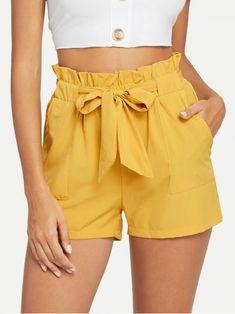 Casual Plain Regular Elastic Waist Mid Waist Ginger Self Belted Ruffle Waist Shorts with Belt