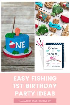 The best ideas for hosting a Fishing Birthday Party for kids. O'fishally one birthday party ideas including invitations, cookies, cake, and decorations. 1st Birthday Party Themes, Party Themes For Boys, Birthday Invitations Kids, Birthday Party Decorations, Birthday Ideas, Popular Birthdays, First Birthdays, O Fish Ally, Boy Fishing