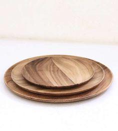 "acacia plates  small: 7.75"" diameter - $12    medium: 10"" diameter - $17    large: 11.5"" diameter - $22"