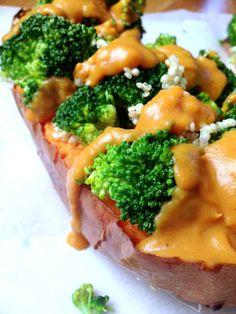 Patate douce au four quinoa brocolis vegan végétalien