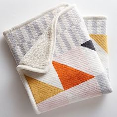 Knit Cotton Baby Blanket - Squares #westelm