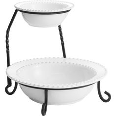 Offer guests tasty homemade treats on this crisp white serving stand, a lovely addition to the dining table or sideboard.Product: