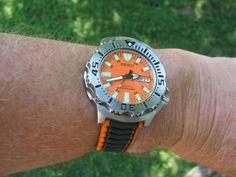 Orange Monster strap???? Seiko Marinemaster, Seiko Monster, Seiko Diver, Beautiful Watches, Breitling, Orange, Accessories, Jewelry Accessories